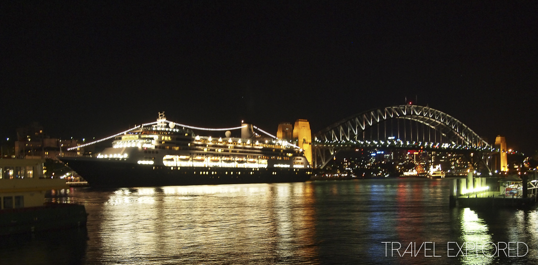 MS Volendam and Sydney Harbour Bridge by night
