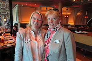 Lorraine Quinn and Jo Rzymowska of Celebrity Cruises who hosted agents and travel writers on board Celebrity Silhouette in Dublin, May 31 2016