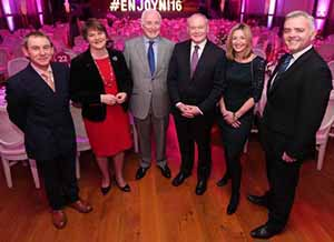 First Minister Arlene Foster and Deputy First Minister Martin McGuinness with (from left) BBC broadcaster Nigel Barden; Tourism NI chairman Terence Brannigan; Laura Briggs of BBC Good Food magazine and Enterprise Minister Jonathan Bell at the launch of the Tourism NI year of food and drink in the Ulster Hall, Belfast, January 14 2016