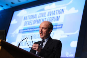 Shane Ross at the National Civil Aviation Development Forum. Photo: Maxwells