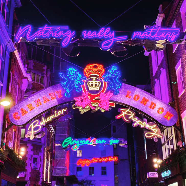 Visit London to see the stunning Christmas Lights on Carnaby Street - Travel for a Living.