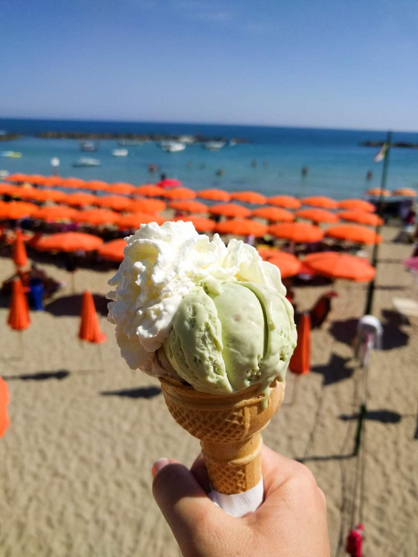 A close-up photo of gelato at the beach in Santa Marinella, Italy