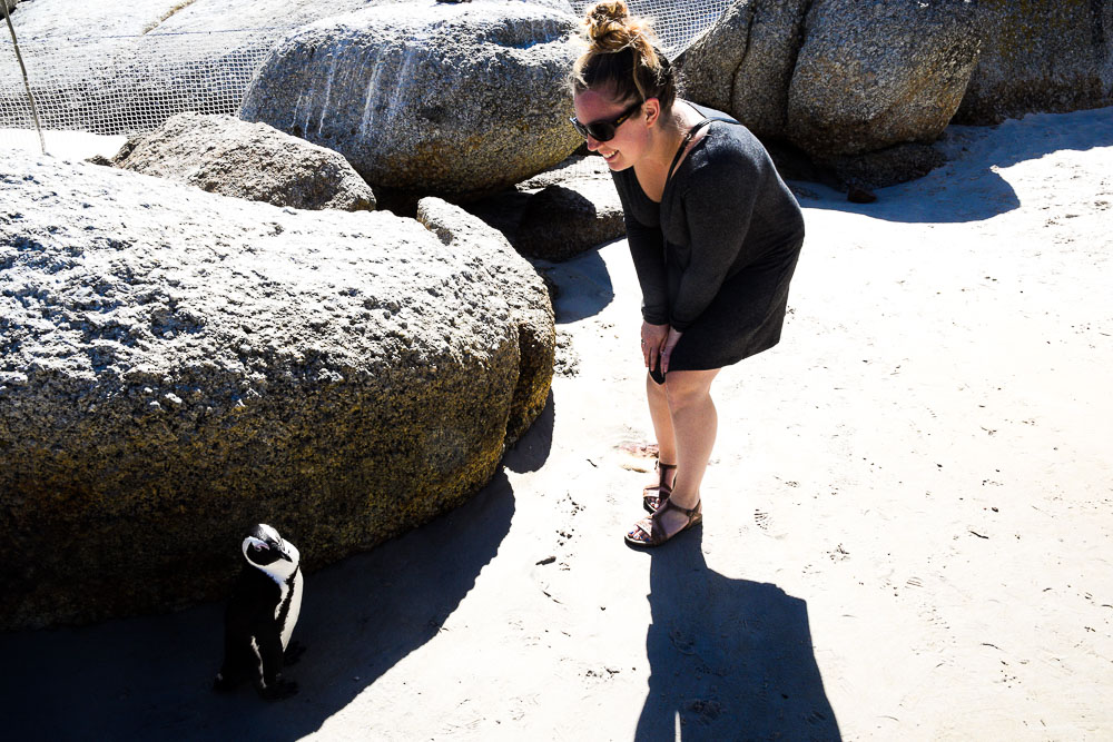 woman meets penguin