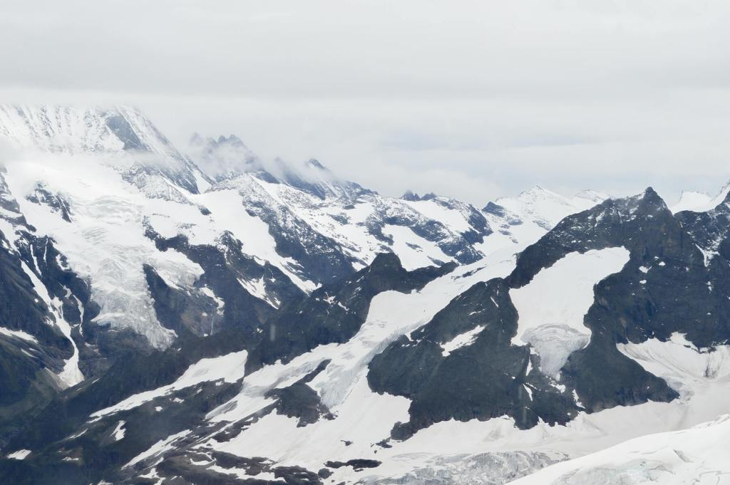 An image of the Swiss Alps completely covered in snow