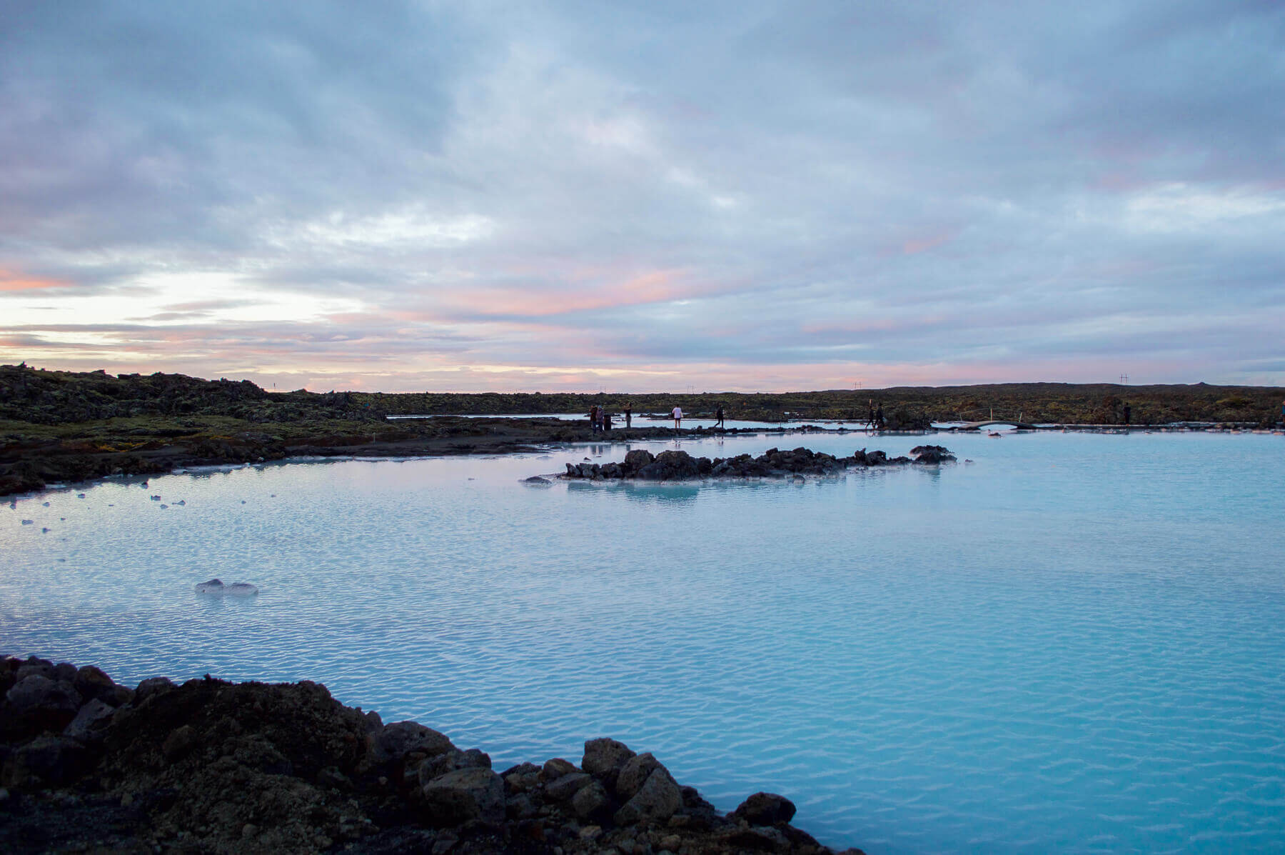 Bright blue geothermal water at the Blue Lagoon, Iceland