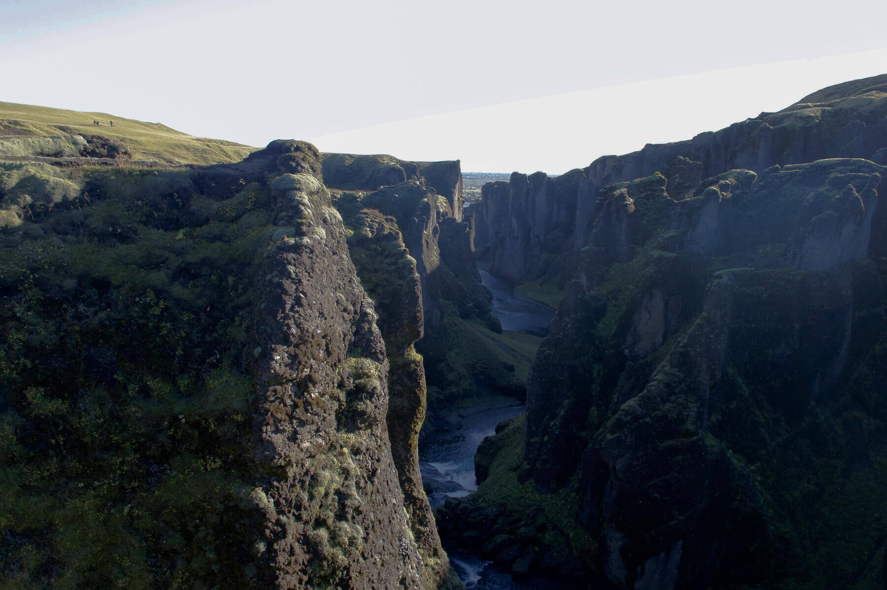 A huge canyon with a river through it in Southern Iceland