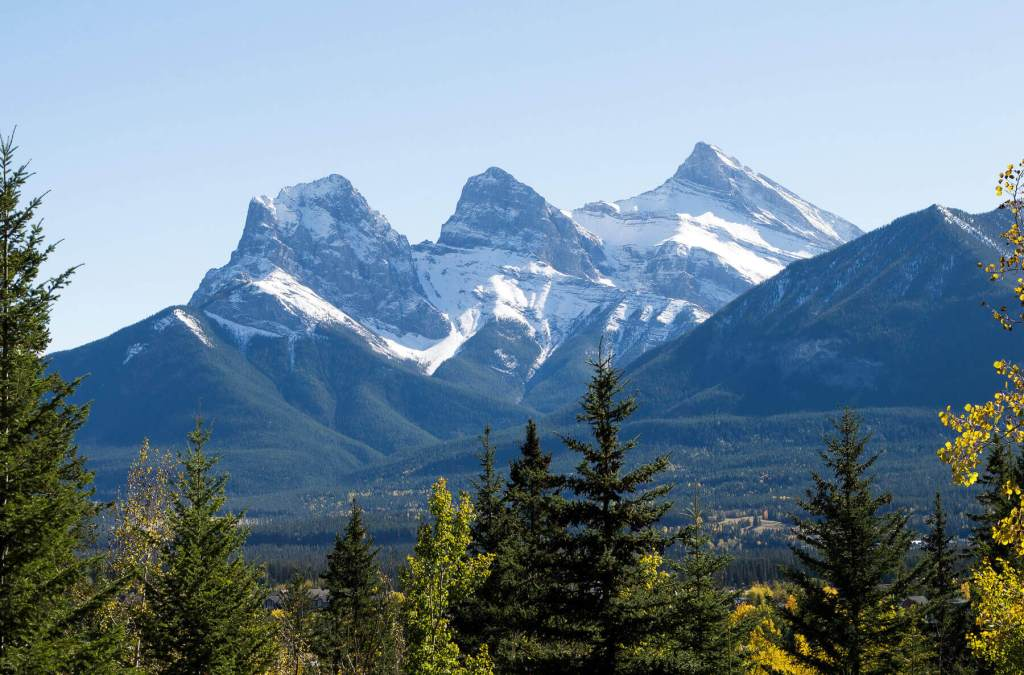 Three sisters mountain peaks in Canmore