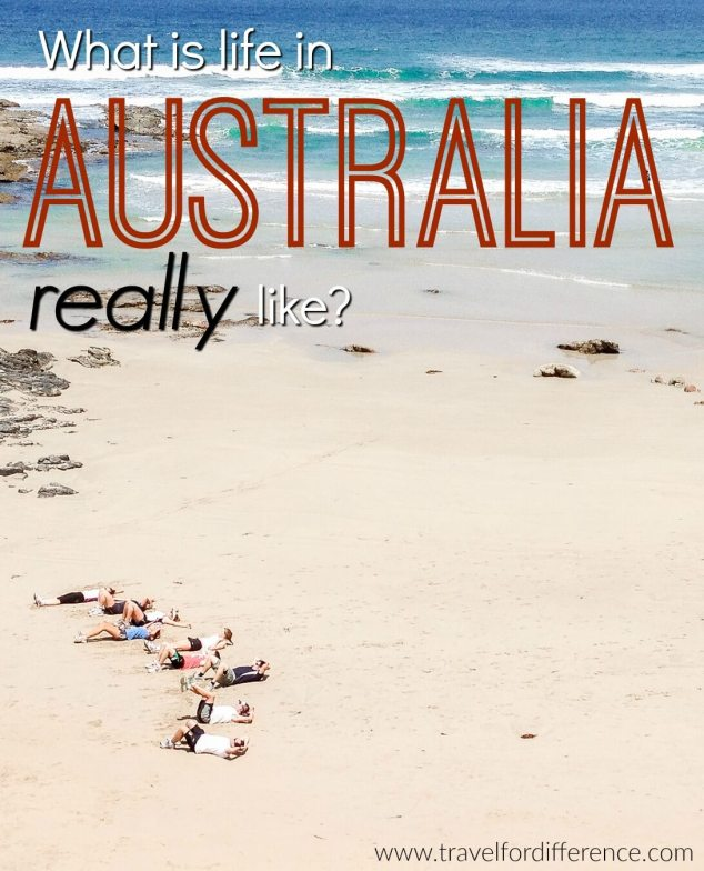 People working out on the beach with text overlay - What is life in Australia really like?