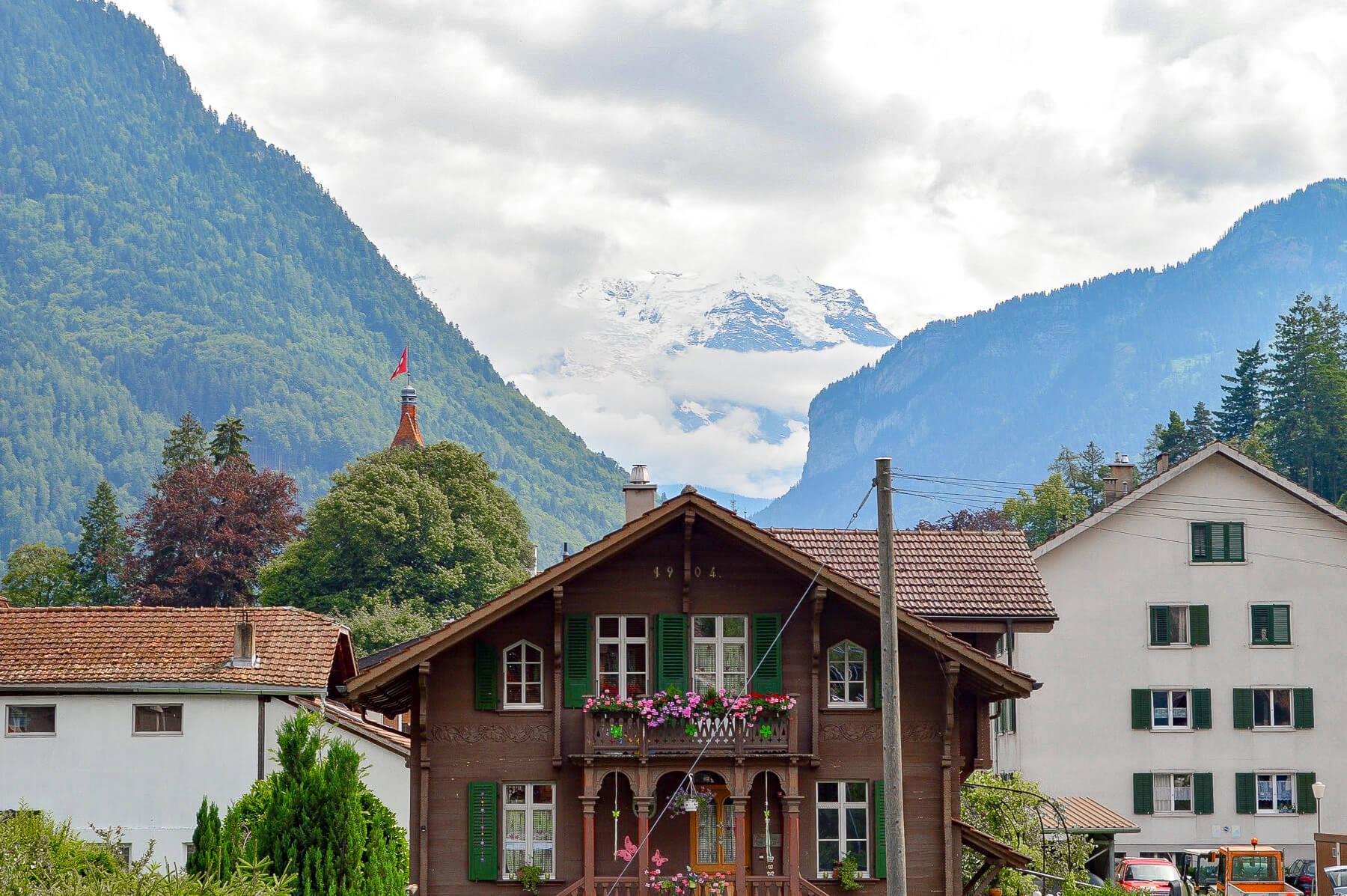 View of Jungfraujoch mountain from Interlaken town