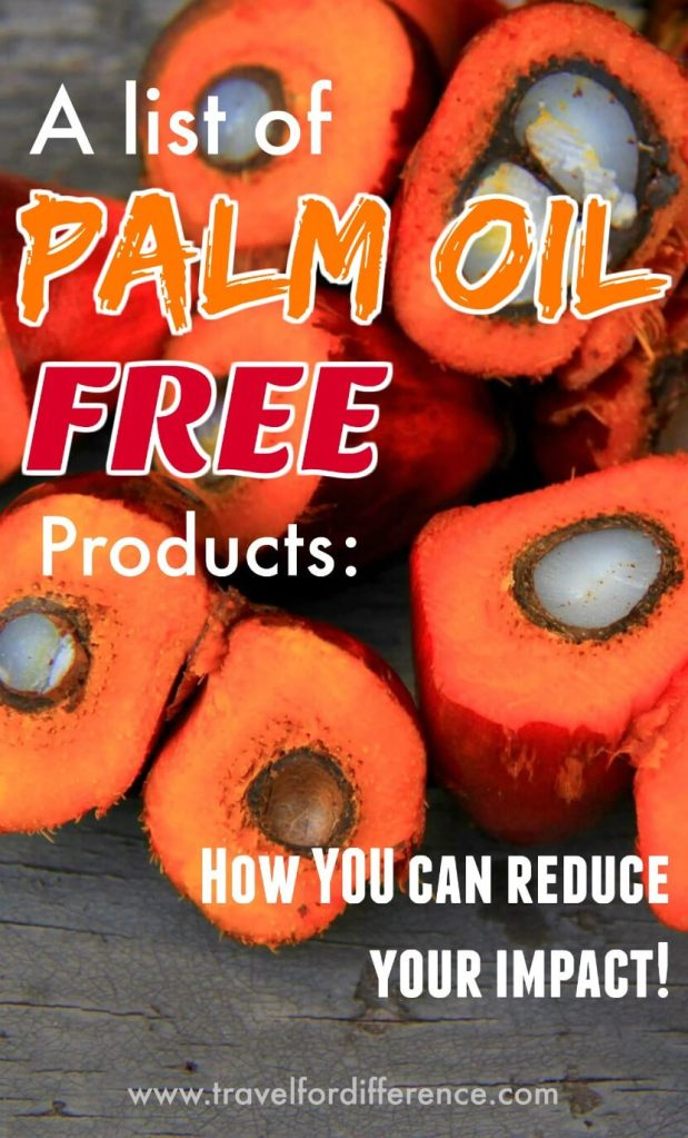 """Fruit of a Palm Oil tree with text overlay - """"List of Palm Oil Free Products - How YOU can reduce your Impact!"""""""