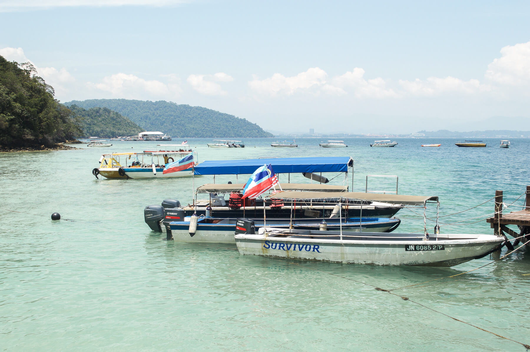 Boats docked at small island in Borneo