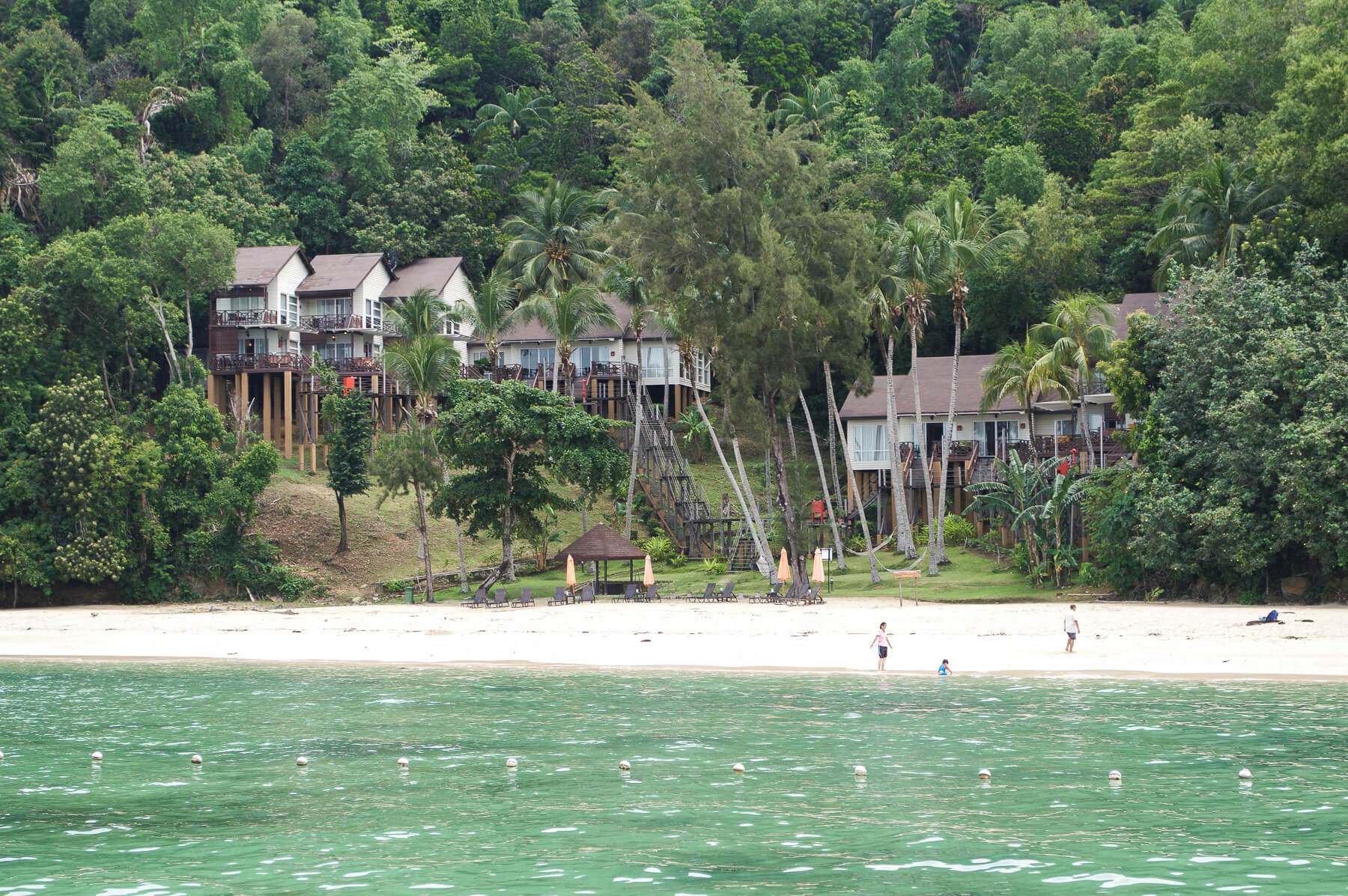 Small villas on stilts in the treetops behind the beach and ocean