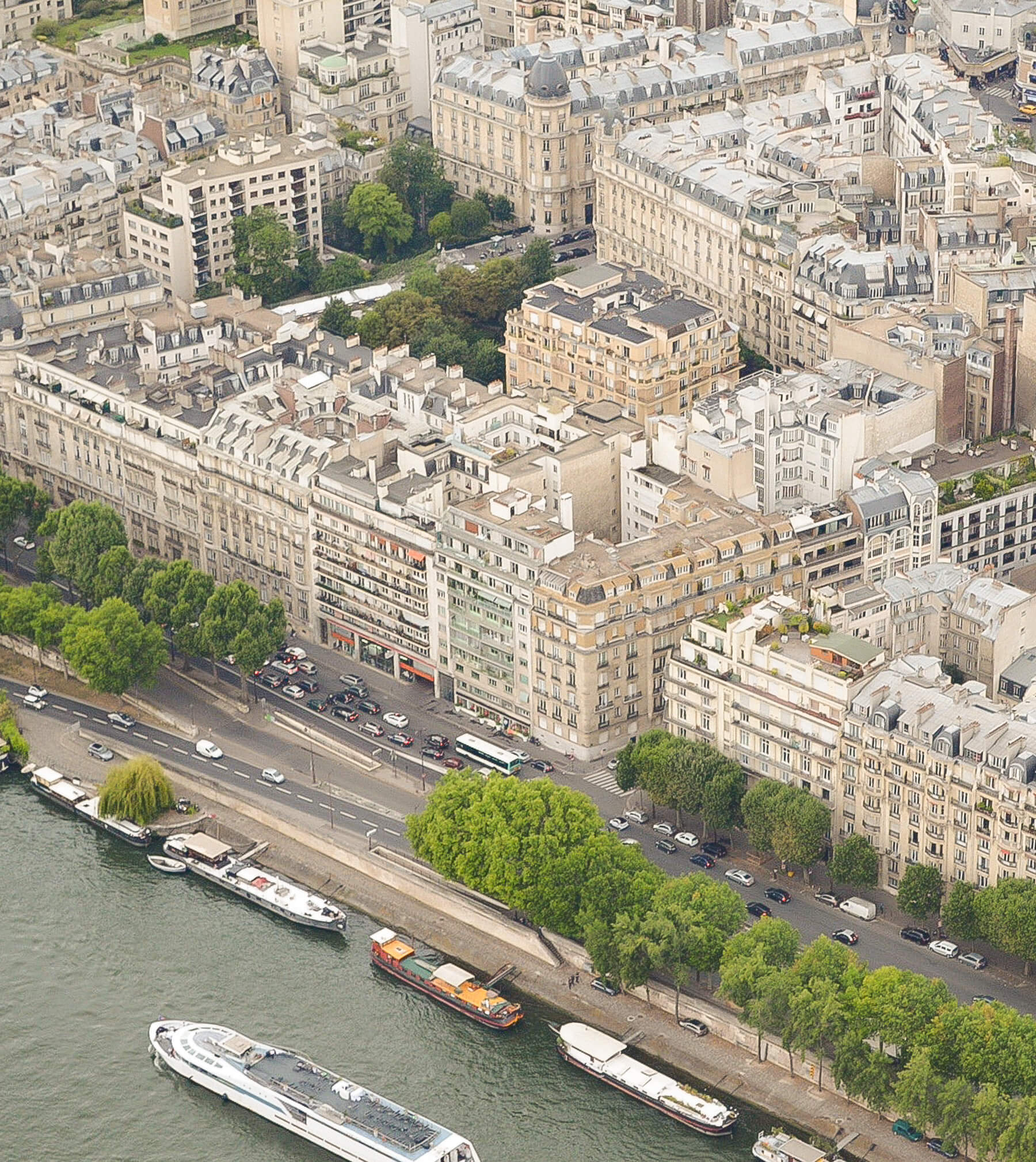 Birds eye view of city of love, Paris - Buildings, streets and river