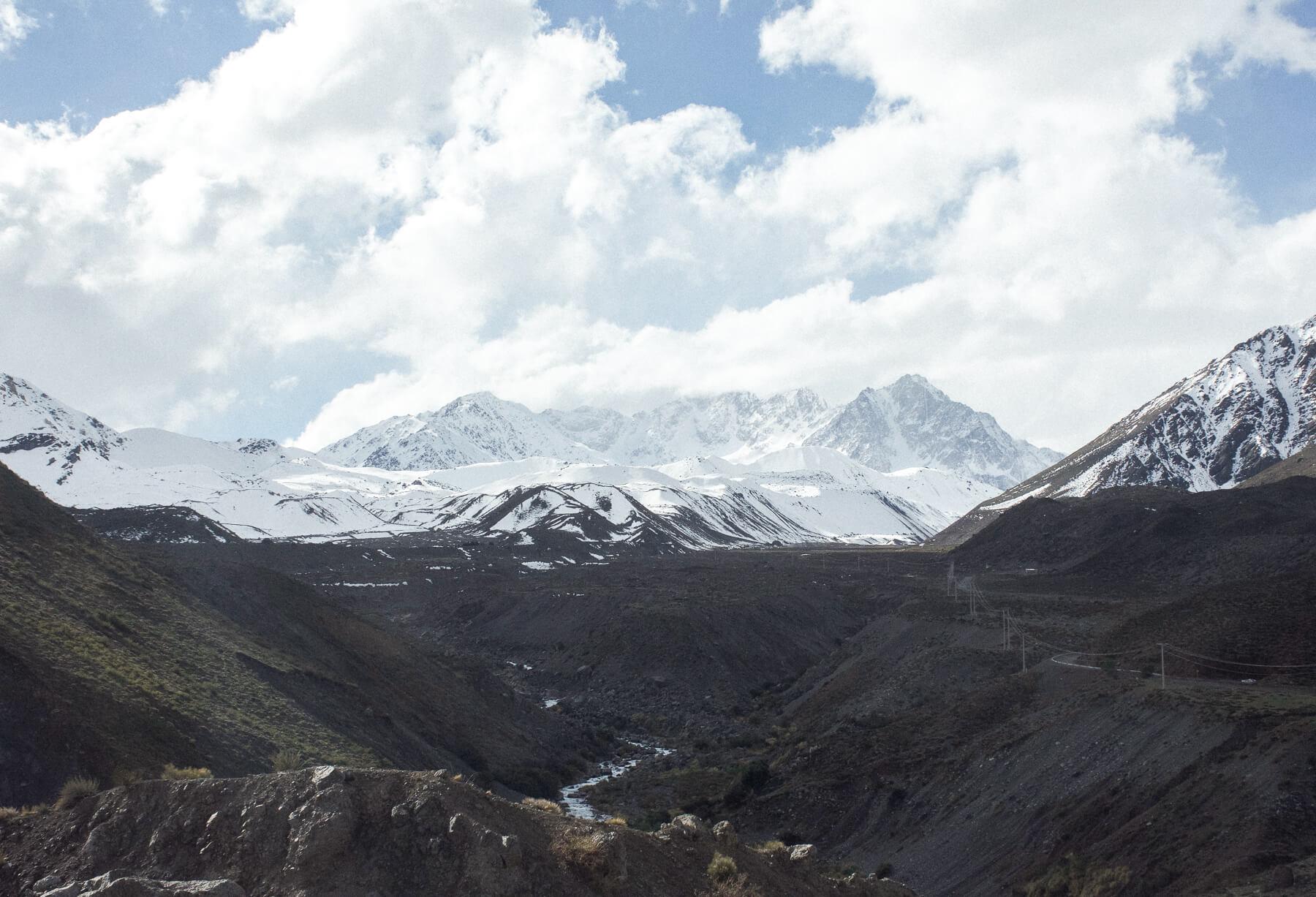 Valley in-between big mountain peaks