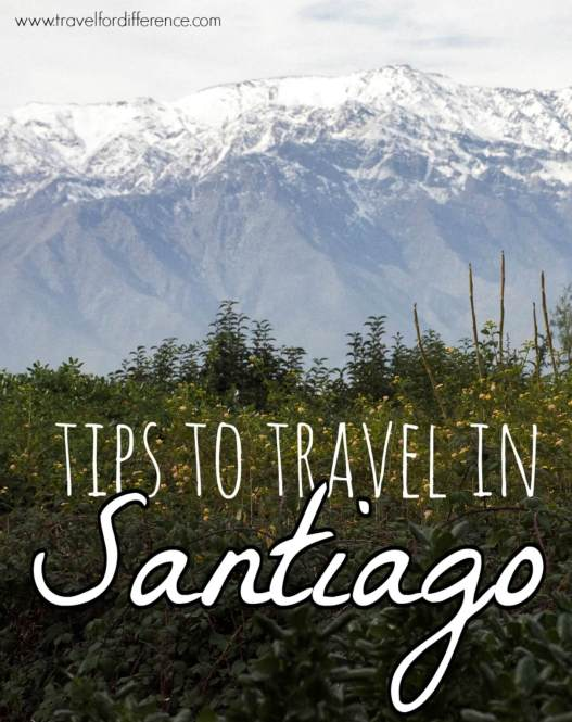Snowy mountain peak with text overlay: Tips to travel in Santiago
