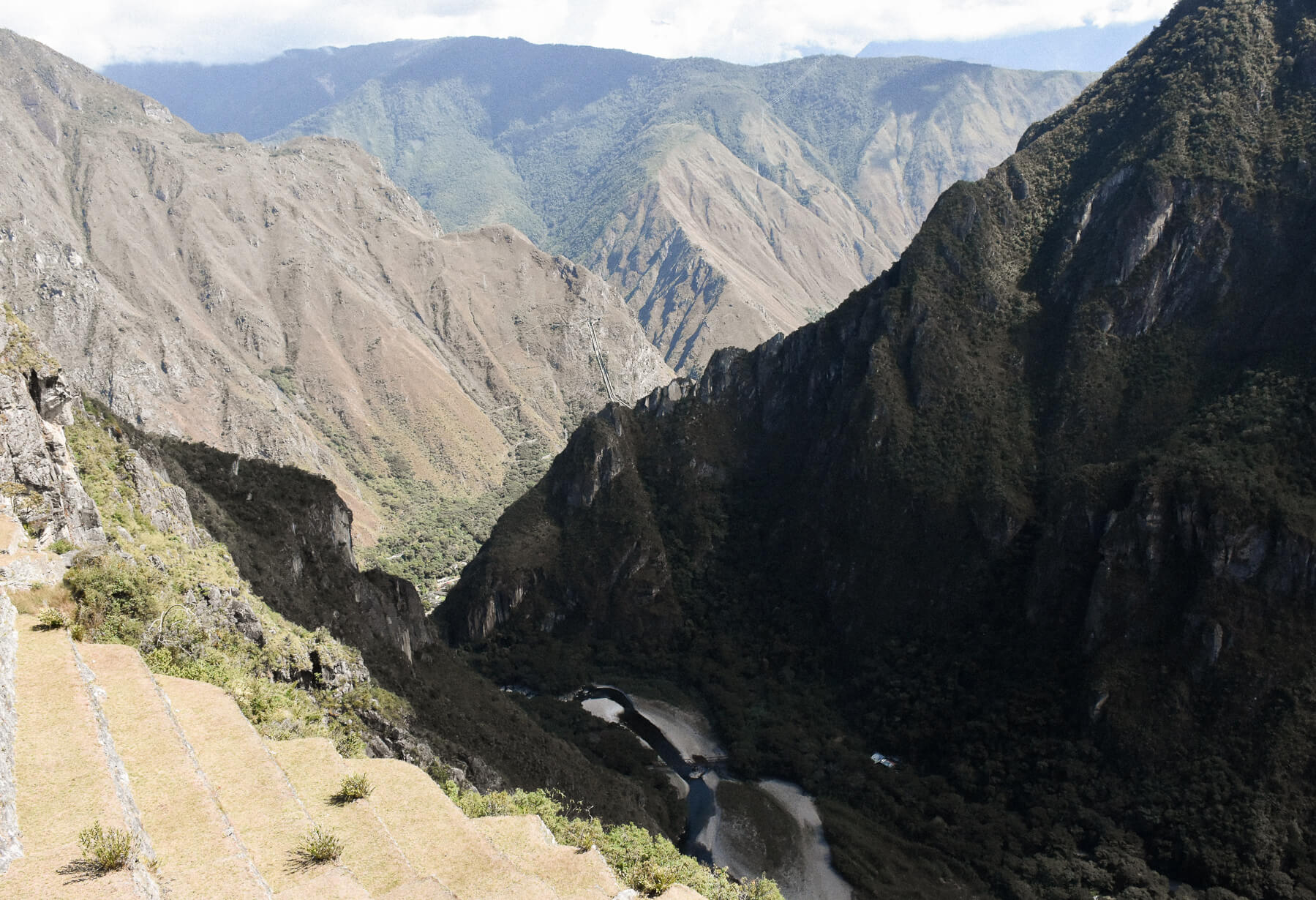 Valley and river behind Machu Picchu