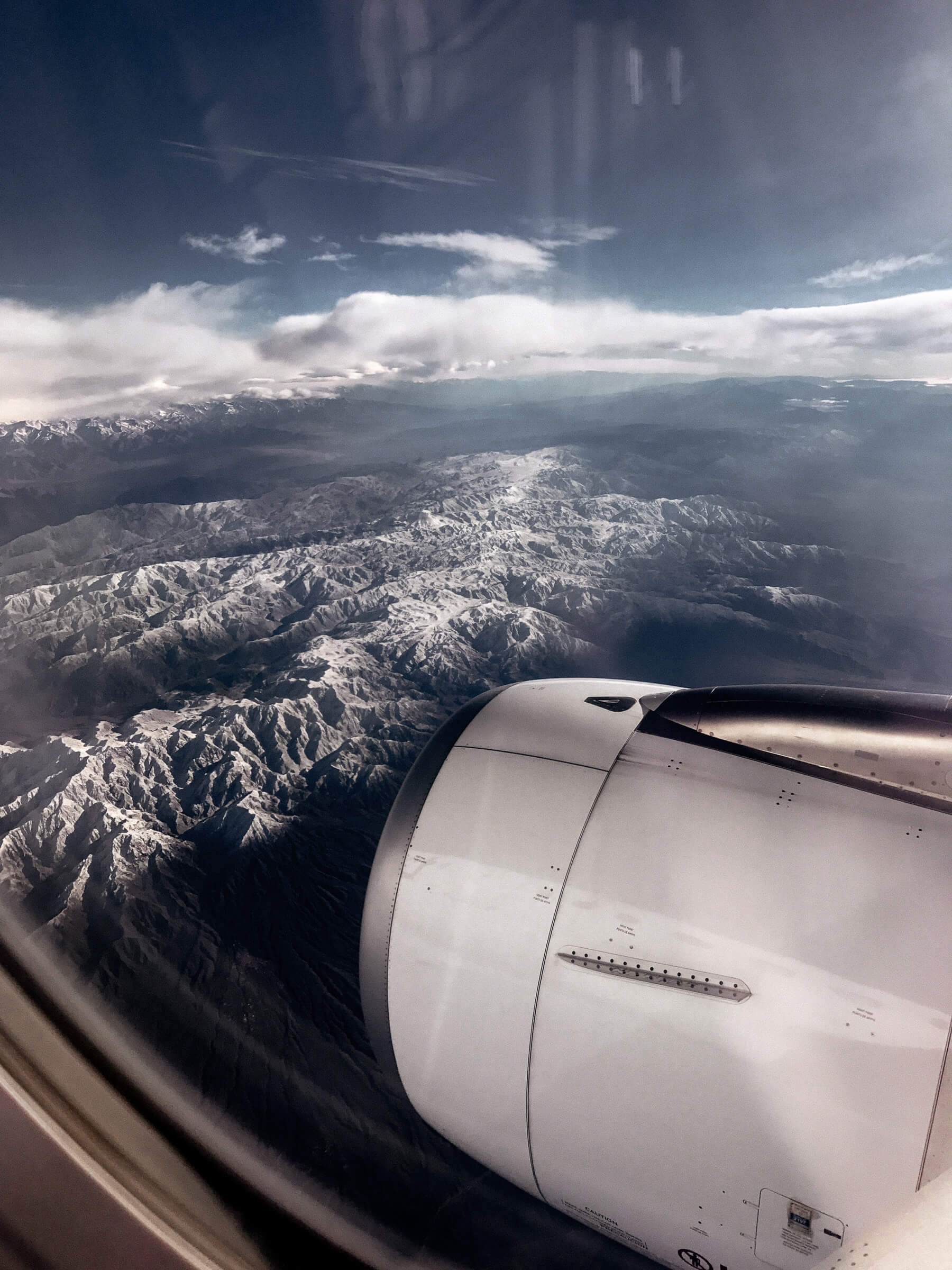 View from aeroplane flying over the Andes Mountains, Chile