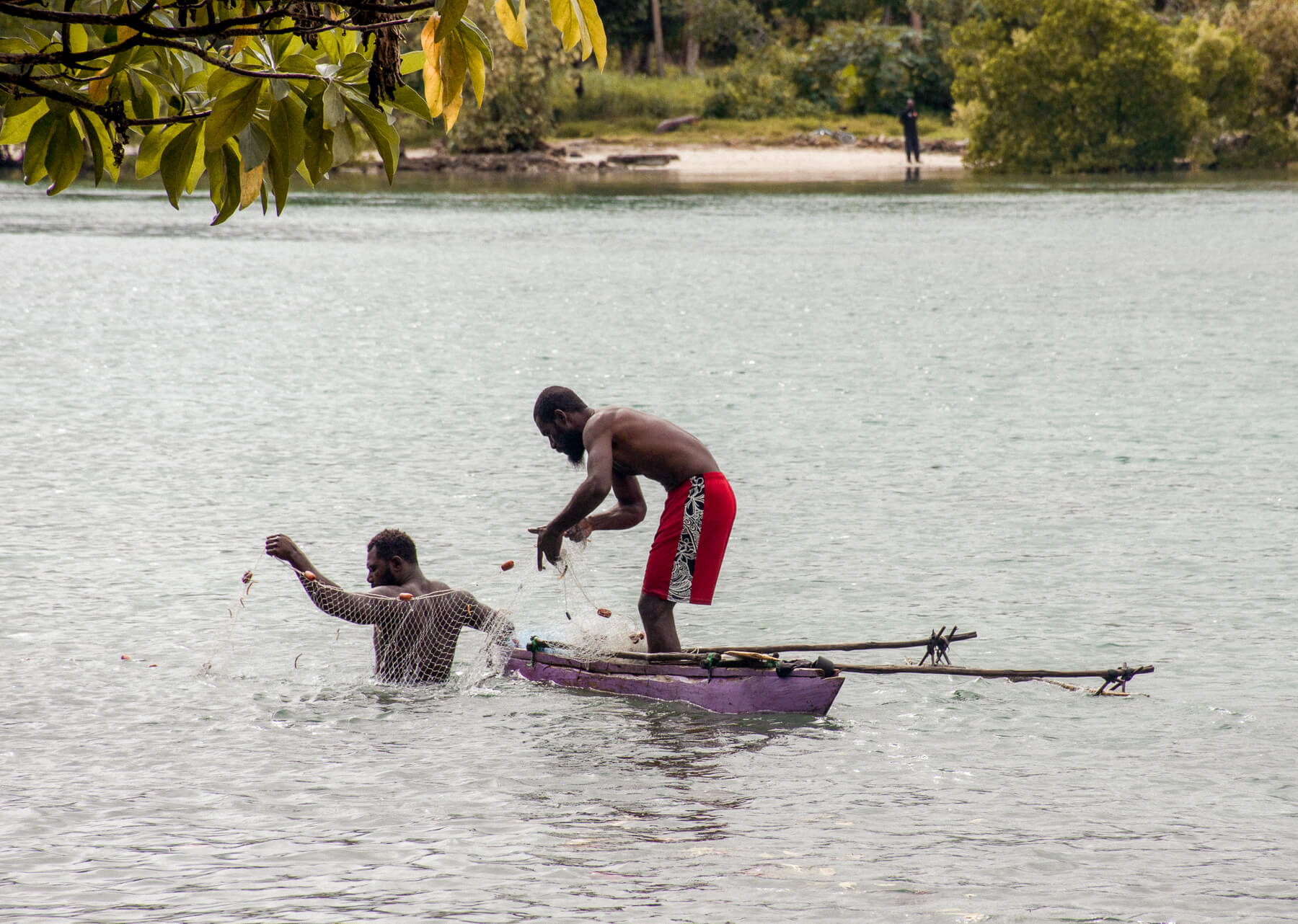 2 local vanuatu people on a traditional canoe catching fish with a net