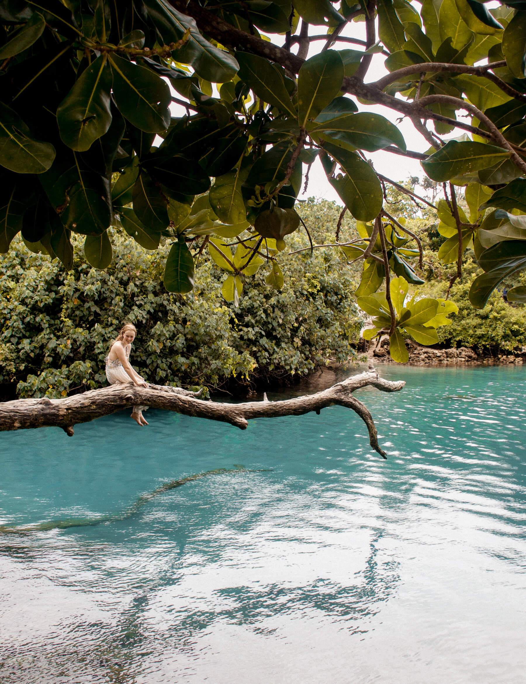 A girl sitting on a big log over the top of a bright blue lagoon in Vanuatu - Leaves of a tree top at the top of the image