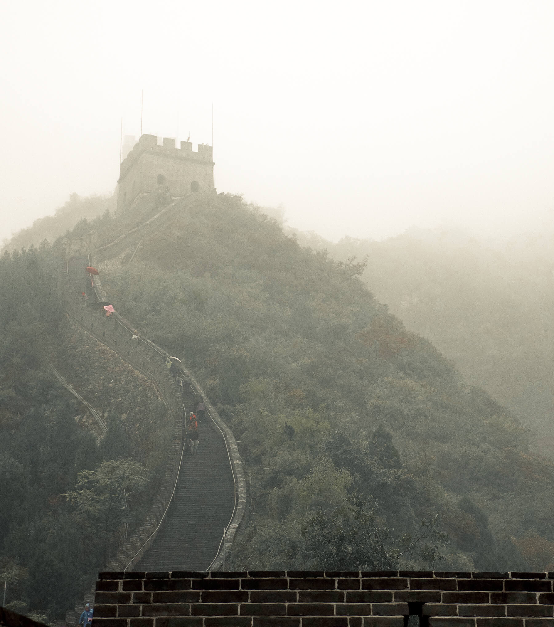 Watching people walking up the steepest portion of the Great Wall of China