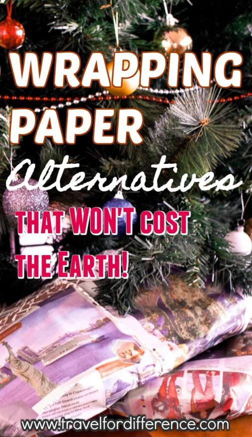 Presents under the Christmas tree with text overlay - Wrapping Paper Alternatives that won't cost the earth - eco friendly gift wrapping - recyclable christmas paper