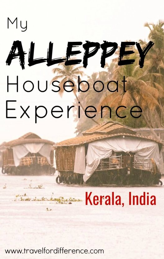 """Alleppey houseboats travelling down a lake with text overlay """"My Alleppey Houseboat Experience - Kerala, India"""""""