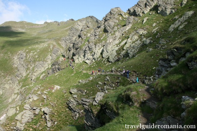 Hiking in Romania -tourists on trail