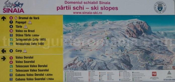 Sinaia ski map - Harta domeniul schiabil Sinaia