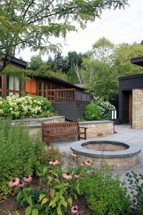 Gardens and Firepit at Topnotch Resort, Stowe, Vermont