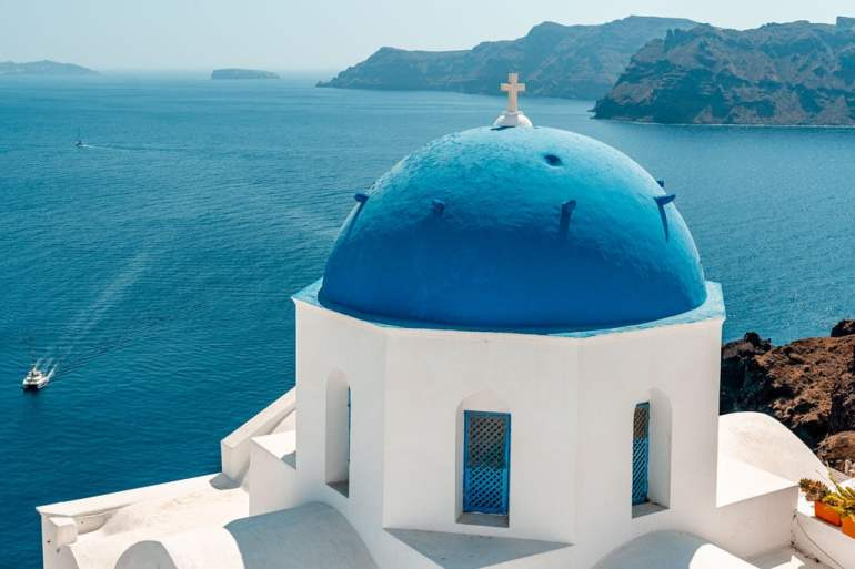 Blue Dome Church Oia Santorini Greece