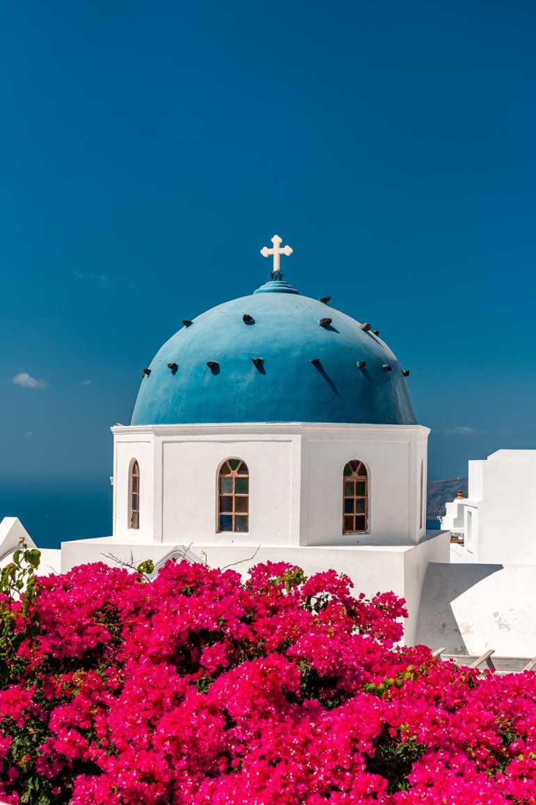 Blue Dome White Church Santorini on a Budget