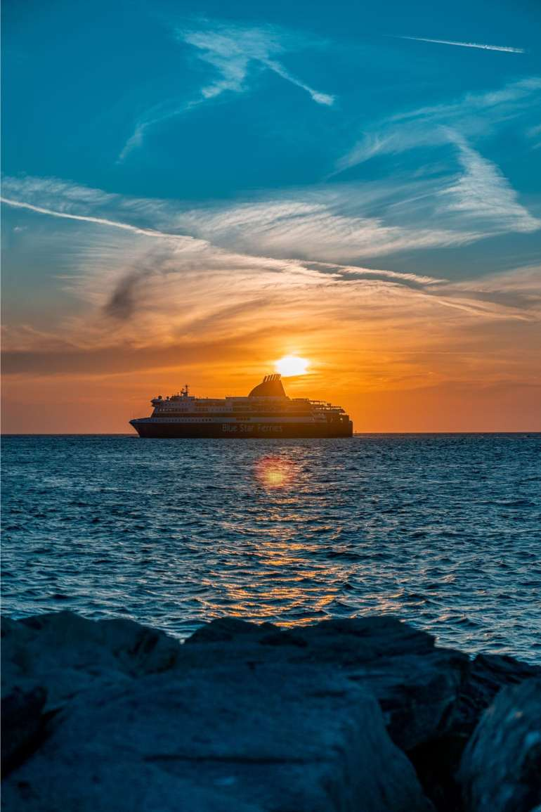 Ferry at Sunset Paros Greece