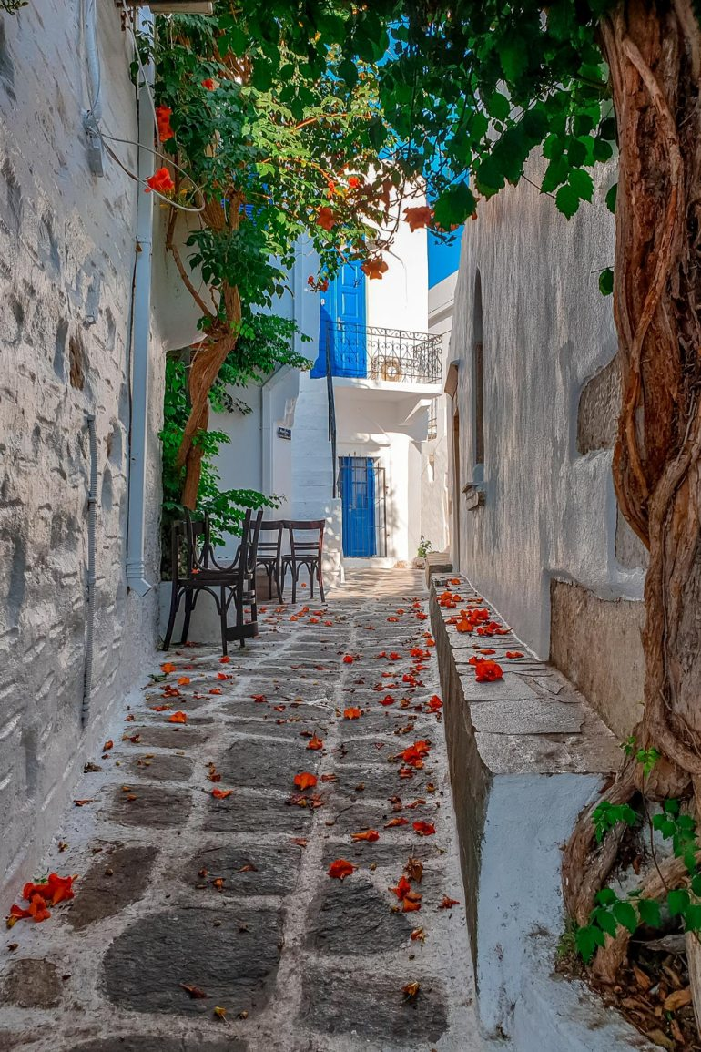 Narrow Street in Old Town of Parikia Paros
