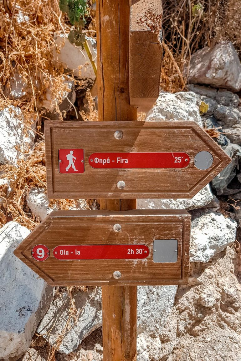 Santorini Signpost Oia Fira