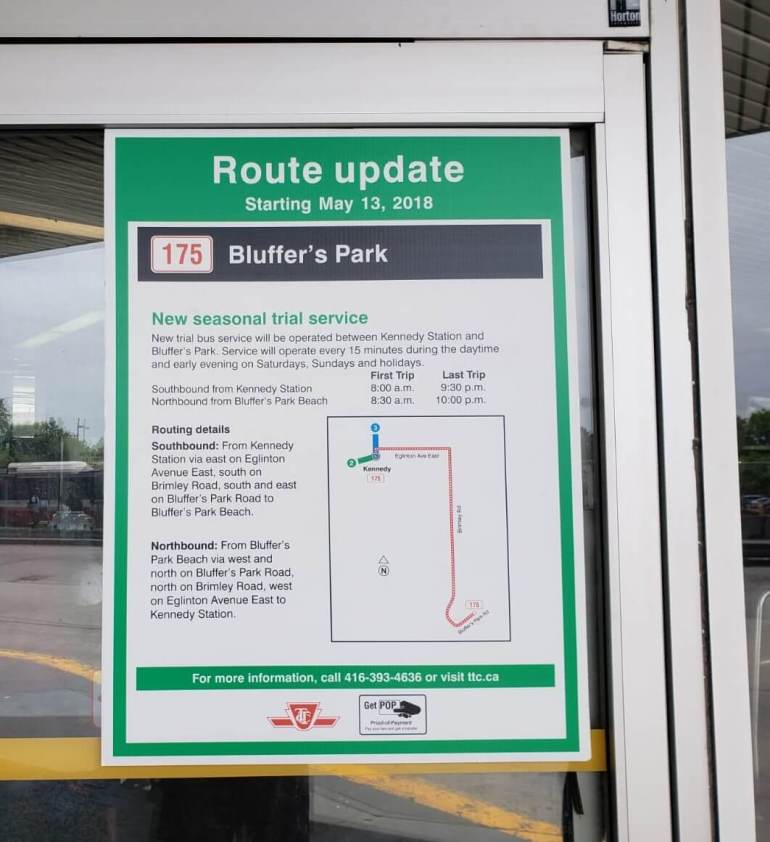 New seasonal service from Kennedy Station to Bluffer's Park