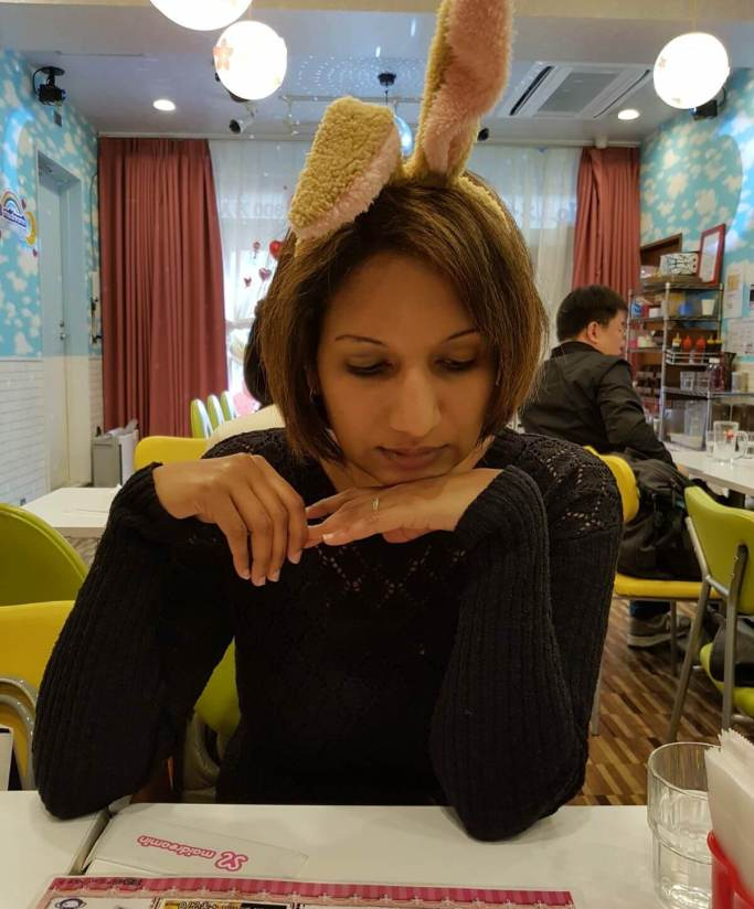Picture shows me wearing my free gift - Bunny Ears