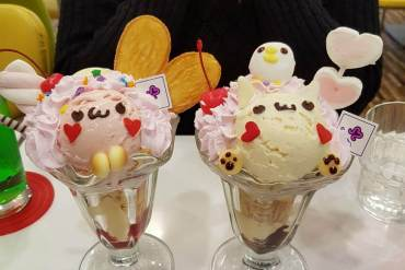 Picture shows two icecreams each made to look like a cute animal