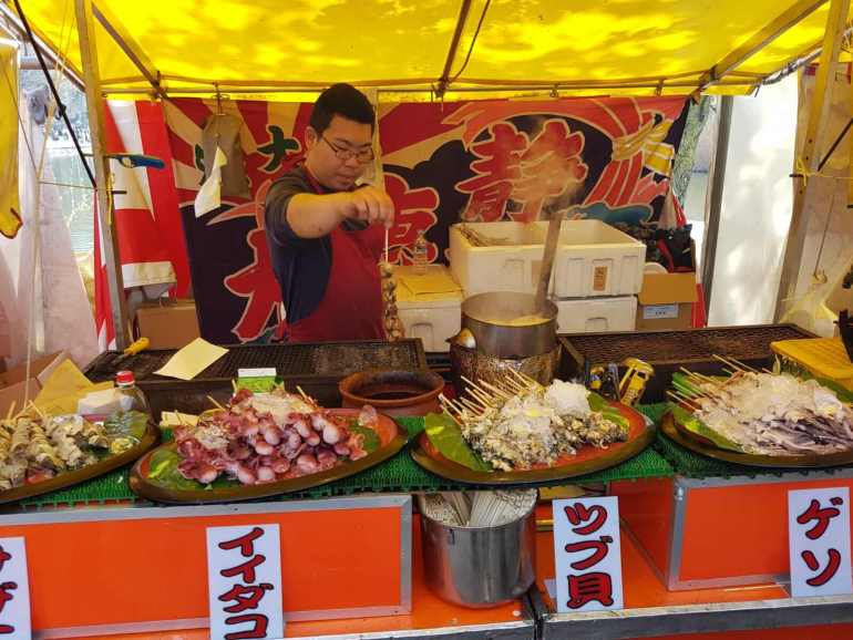 Japanese Street Food - Deep Fried Squid and  Octopus At Ueno Park