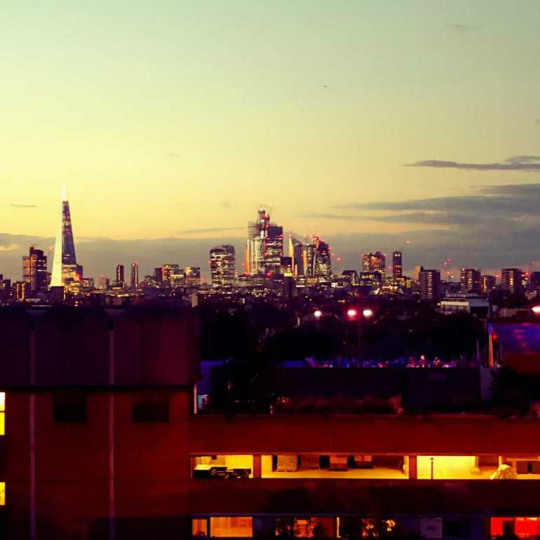 Rooftop Cinema - View of London Skyline from Bussey Building