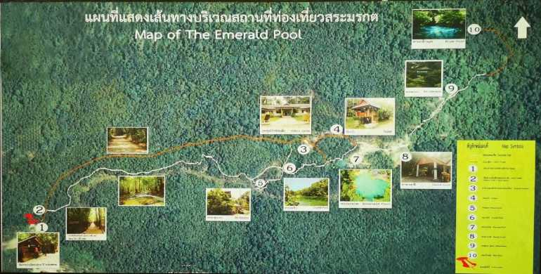 Emerald Pool Krabi Map showing different points of interest