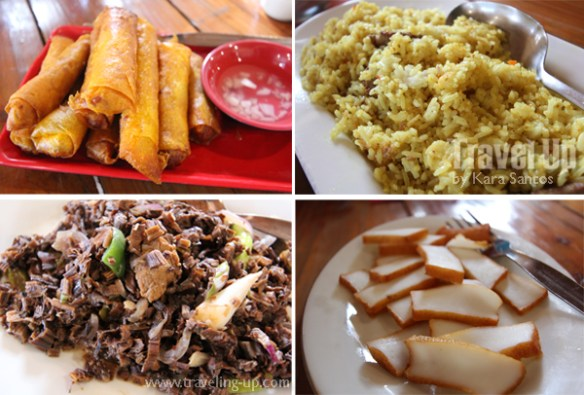 vatang grill & restaurant batanes - fish lumpia, yellow rice, venes, cuttlefish