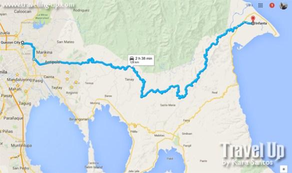 map from quezon city to infanta quezon marikifanta highway