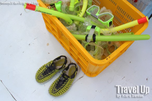 snorkel gear keen uneek sandals boat cebu