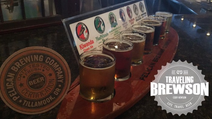 A taster tray at Pelican Pub & Brewery, 7 different beers to sample.