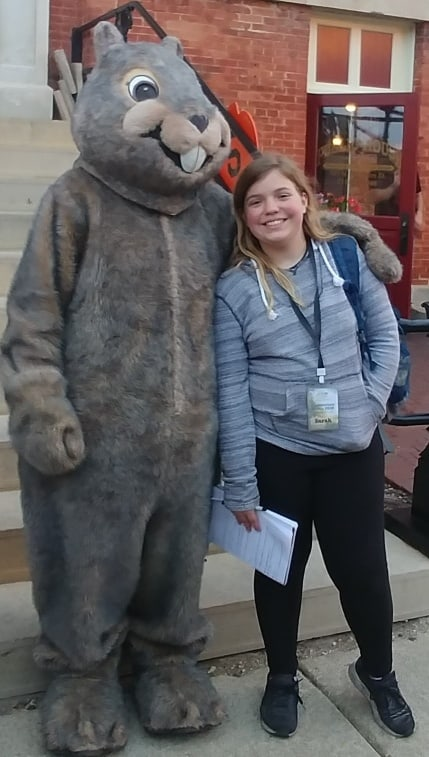 Miss Sarah with Willie the ground hog