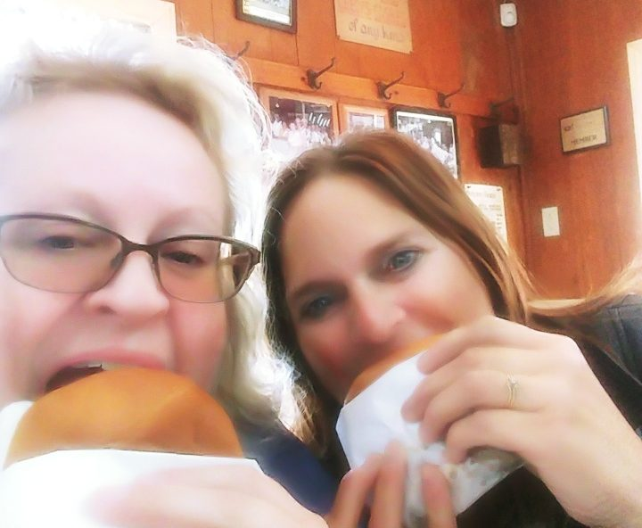Sara and Dannelle eating their Canteen sandwiches