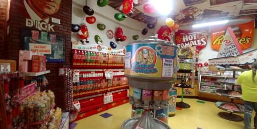 wall of bulk candy inside hollwood candy