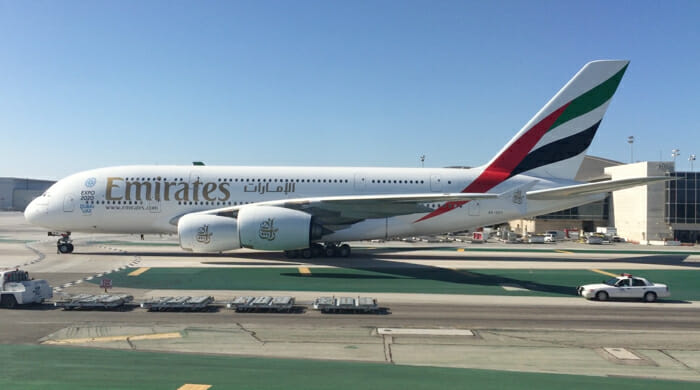 Emirates A380 at LAX