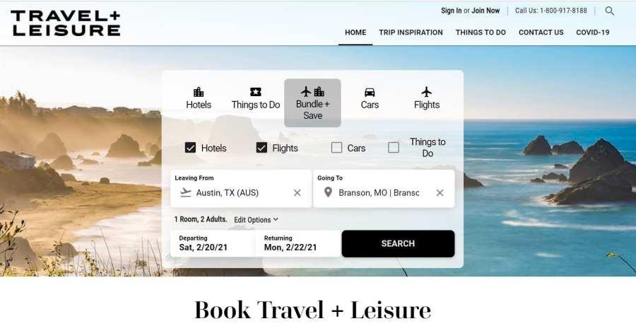 BookTandL.com New Travel + Leisure Booking Platform