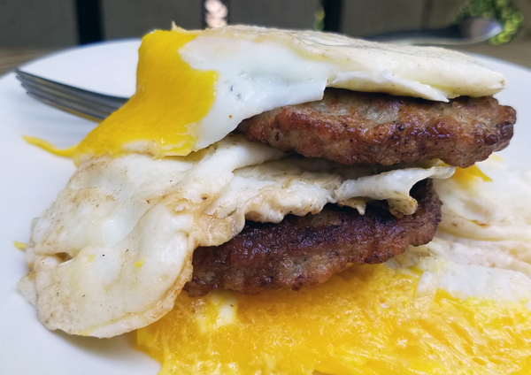 Keto Friendly Sausage and Fried Eggs
